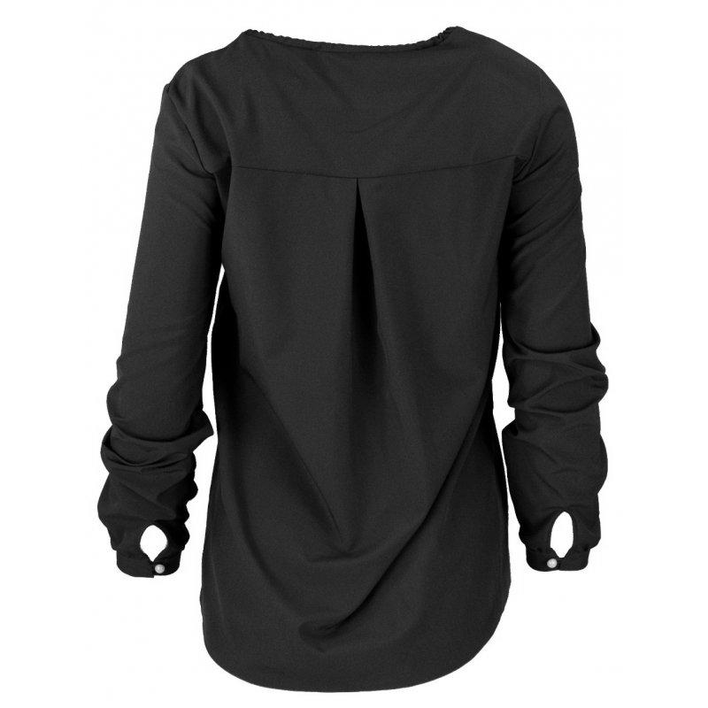 Bluzka koszulowa  z wiązaniem i perełkami- polski producent- czarna