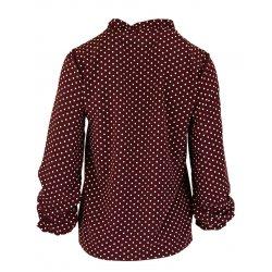 Bluzka koszulowa z wiązaniem na stójce polski producent- bordo w kropki