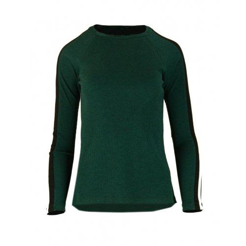 Bluza Sweter z Dzianiny Prążkowanej z Lampasami na Ramionach - Kolor Butelka