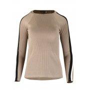 Bluza Sweter z Dzianiny Prążkowanej z Lampasami na Ramionach - Beż
