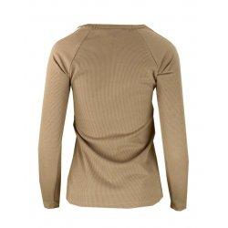 Bluza sweter z dzianiny w prążkowanej z lampasami na ramionach- beż
