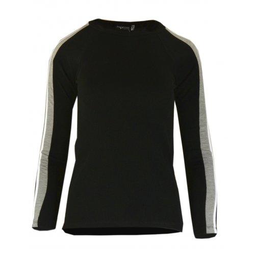 Bluza sweter z dzianiny w prążkowanej z lampasami na ramionach- czarny i szary
