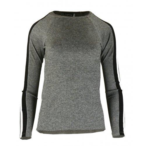 Bluza Sweter z Dzianiny Prążkowanej z Lampasami na Ramionach - Grafit