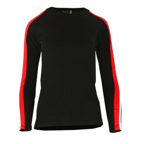 Bluza sweter z dzianiny w prążkowanej z lampasami na ramionach- czarna