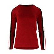 Bluza Sweter z Dzianiny Prążkowanej z Lampasami na Ramionach - Bordowa
