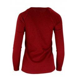 Bluza sweter z dzianiny w prążkowanej z lampasami na ramionach- bordowa