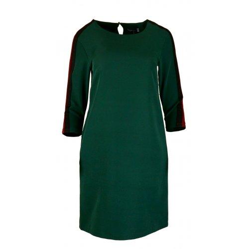 Sukienka z Lampasami na Ramionach - Polski Producent - Zielona+bordo
