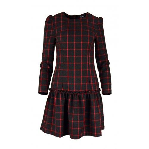 Sukienka w kratkę z dolną falbaną- polski producent- czerwona