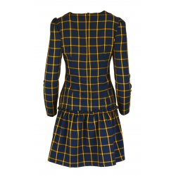 Sukienka w kratkę z dolną falbaną- polski producent- żółta
