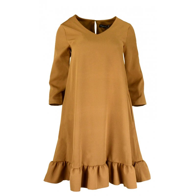 Sukienka trapezowa z efektowną falbaną i kieszeniami- camel