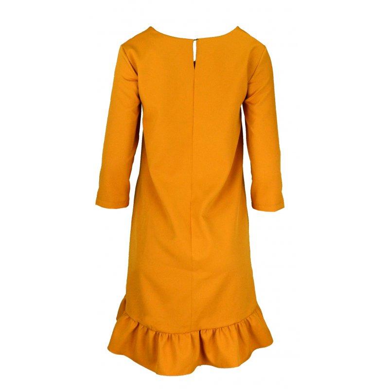 Sukienka trapezowa z efektowną falbaną i kieszeniami- musztarda