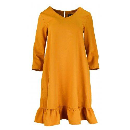Sukienka Trapezowa z Efektowną Falbaną i Kieszeniami - Musztarda