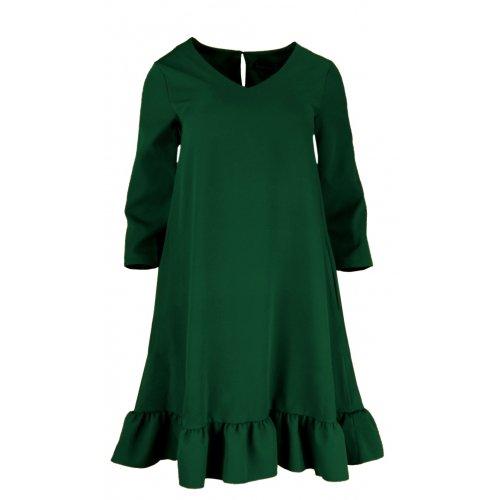 Sukienka Trapezowa z Efektowną Falbaną i Kieszeniami - Butelka