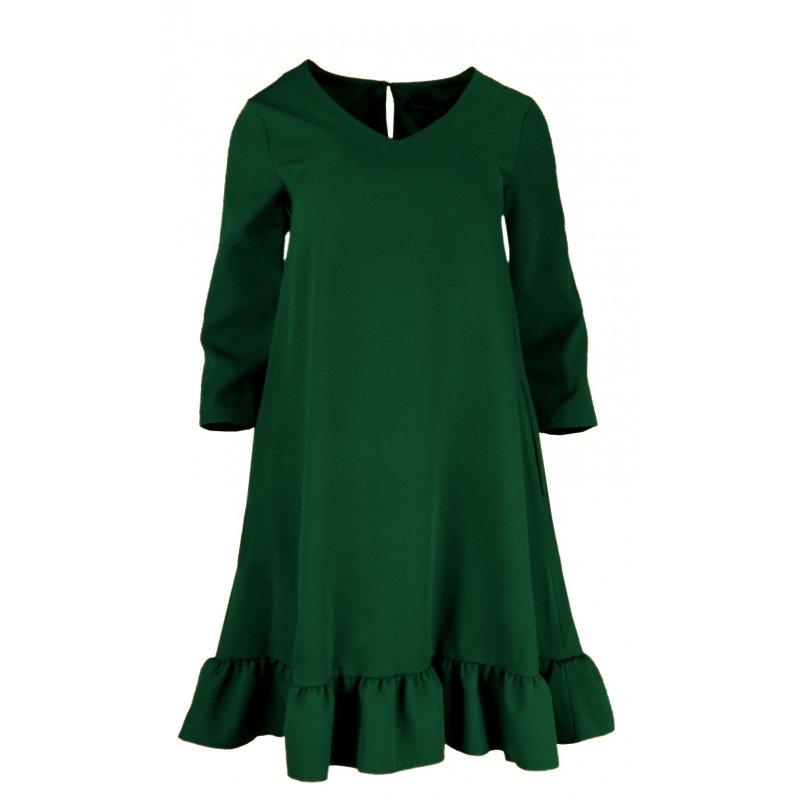 3ac56e20b0 Sukienka Trapezowa z Efektowną Falbaną i Kieszeniami - Butelka ...