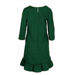 Sukienka trapezowa z efektowną falbaną i kieszeniami- butelka