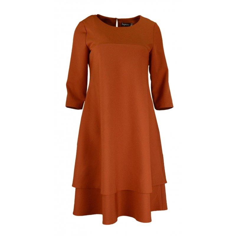 Sukienka trapezowa z podwójną falbaną- polski producent- ruda