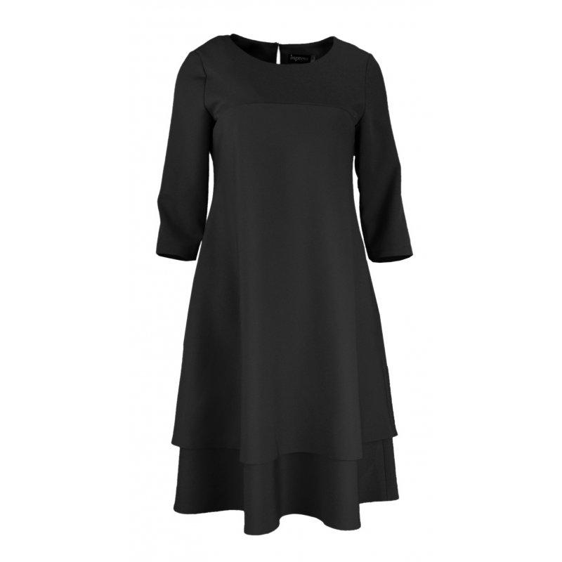 Sukienka trapezowa z podwójną falbaną- polski producent- czarna