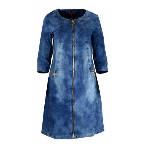 Sukienka jeansowa zasuwana na zamek z przeszyciami