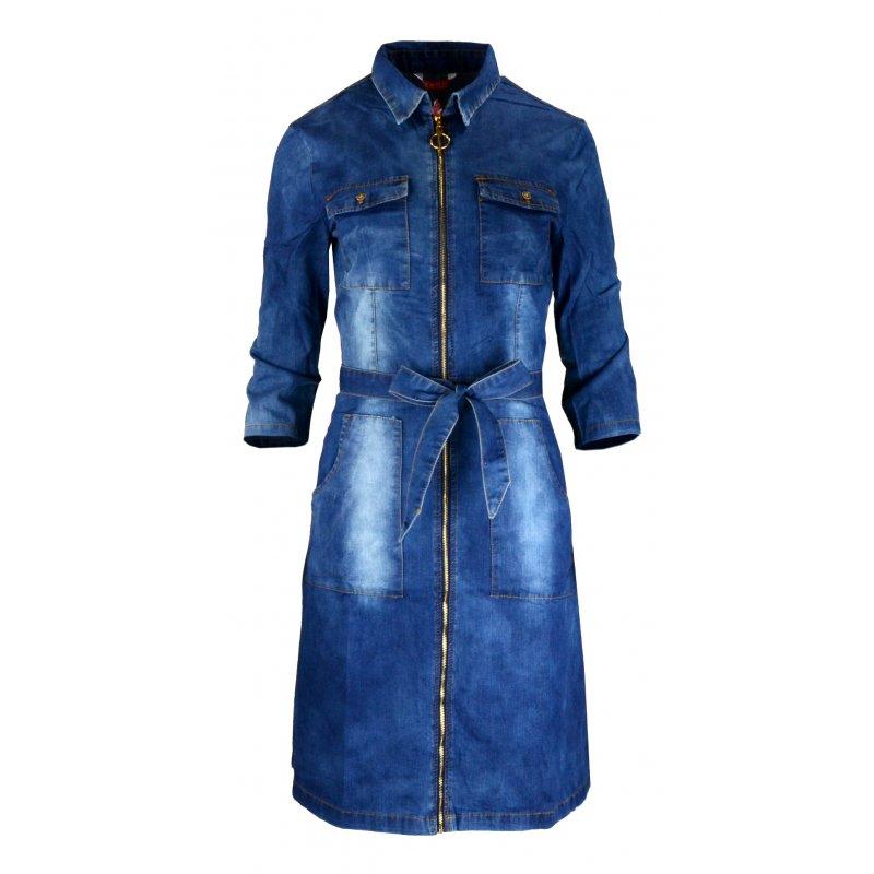Sukienka jeansowa z kołnierzem i paskiem