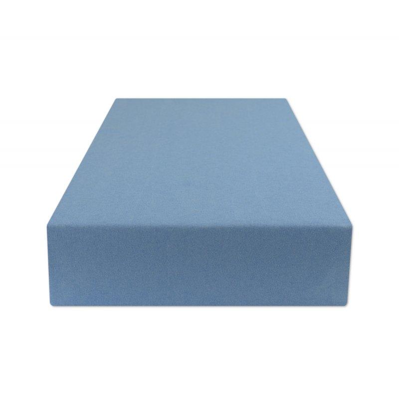 Niebieskie prześcieradło z gumką 180x200 JERSEY Niebieski