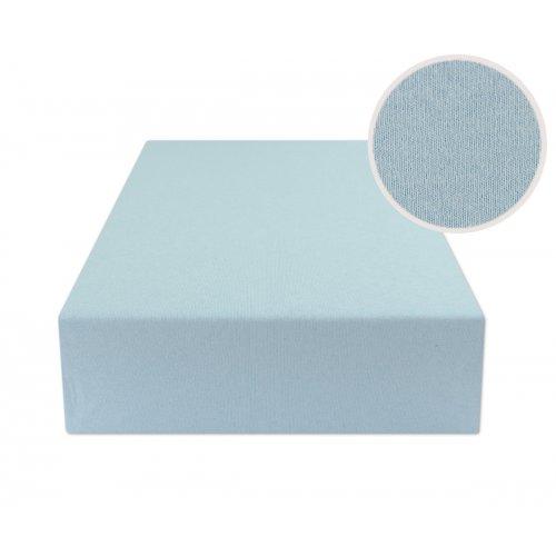 Błękitne prześcieradło z gumką 200x220 JERSEY Jasny Niebieski