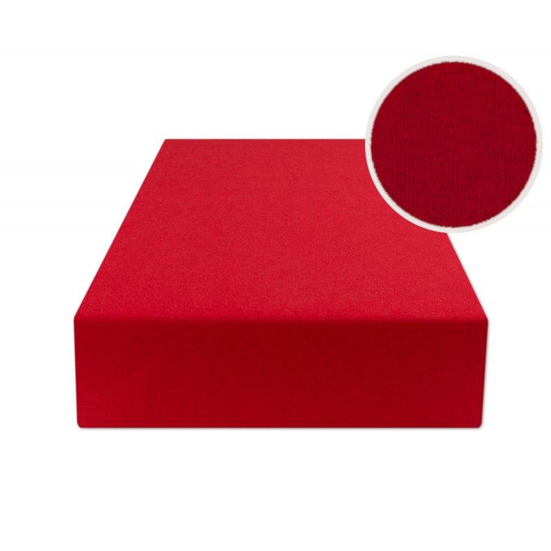 Czerwone prześcieradło z gumką 200x220 JERSEY Czerwony