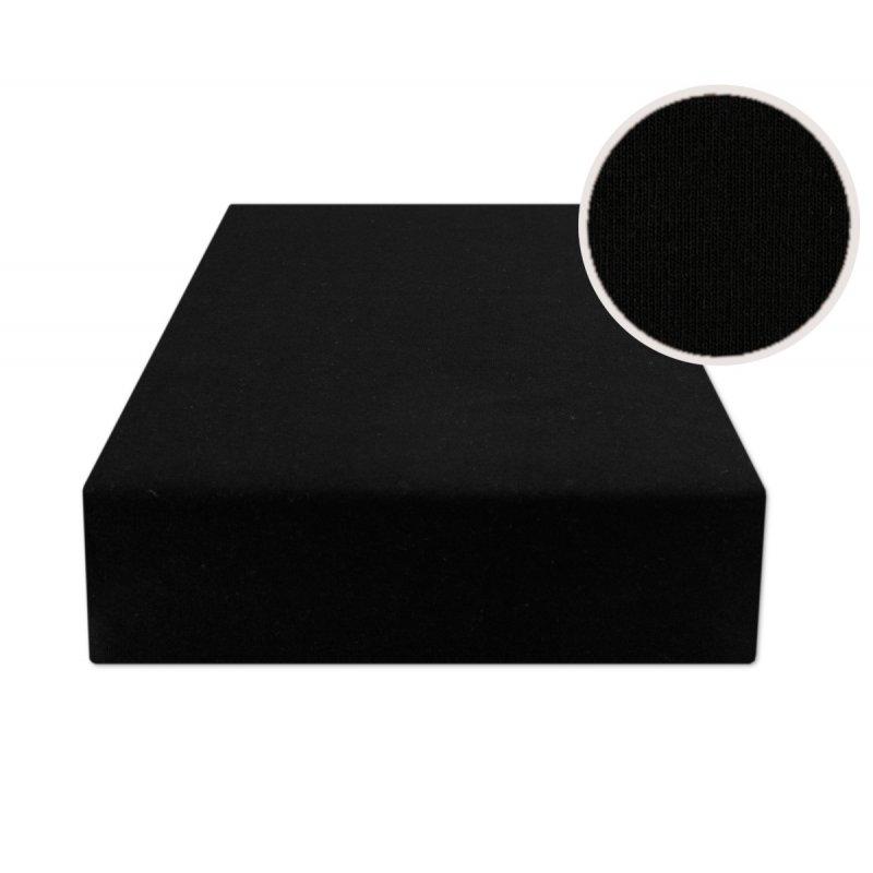 Czarne prześcieradło z gumką 200x220 JERSEY Czarny