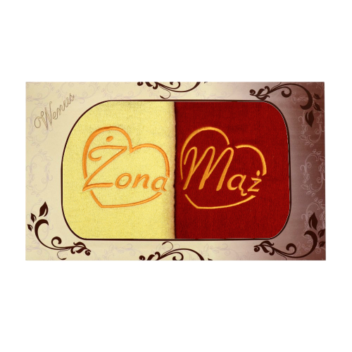 Komplet ręczników na prezent 2cz Mąż Żona MZ-2779