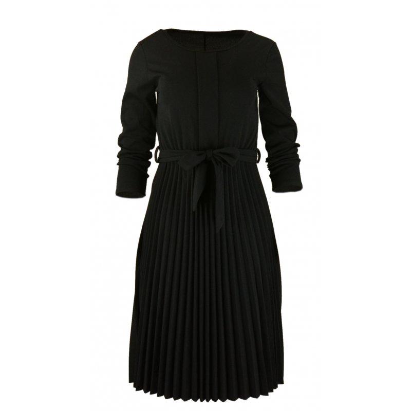 eceb464a6b Sukienka Plisowana WŁOSKA z Lekkiej Dzianiny - Czarna