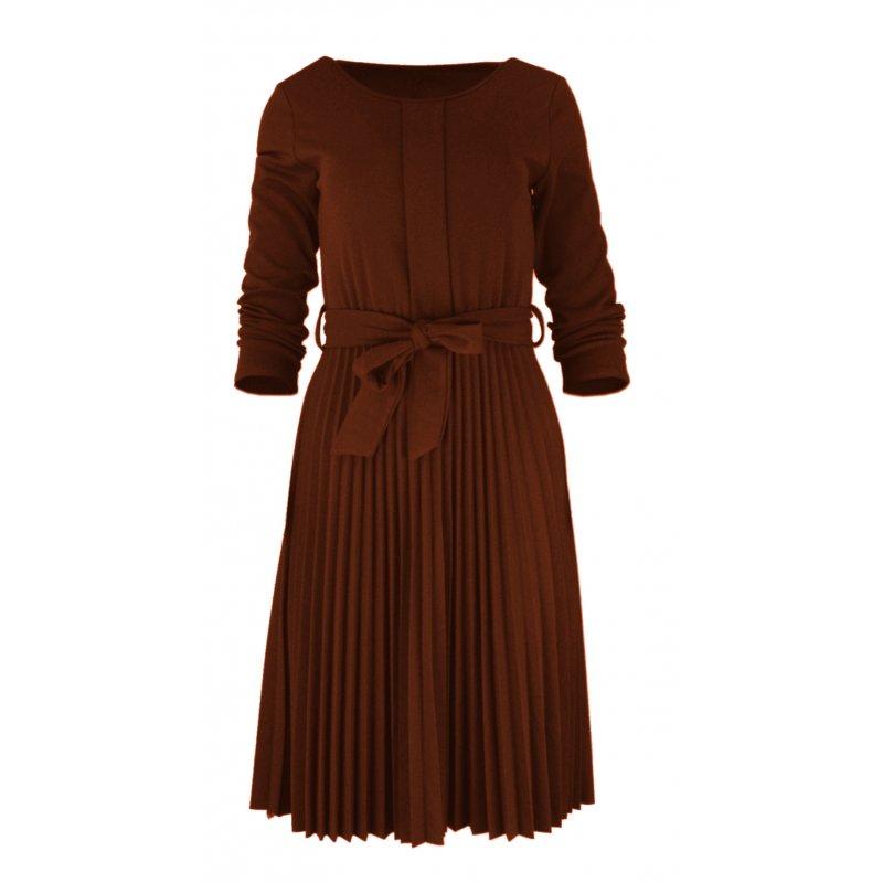 Sukienka Plisowana WŁOSKA Z Lekkiej Dzianiny -Jasny Brąz