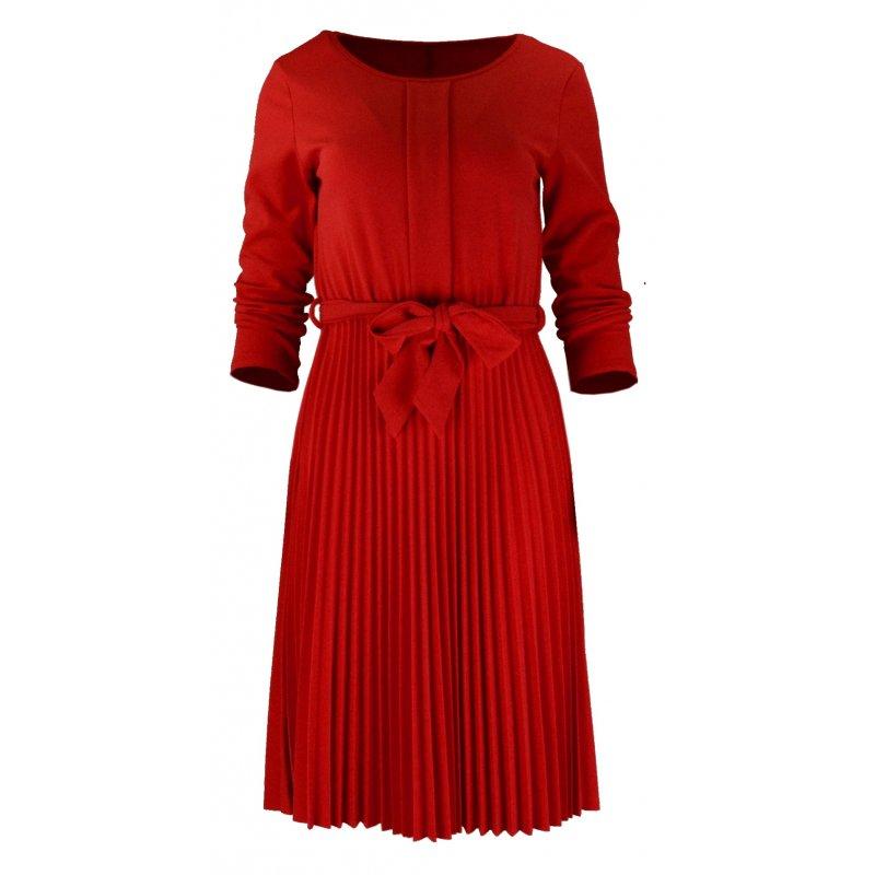 Sukienka Plisowana WŁOSKA Z Lekkiej Dzianiny -Czerwona