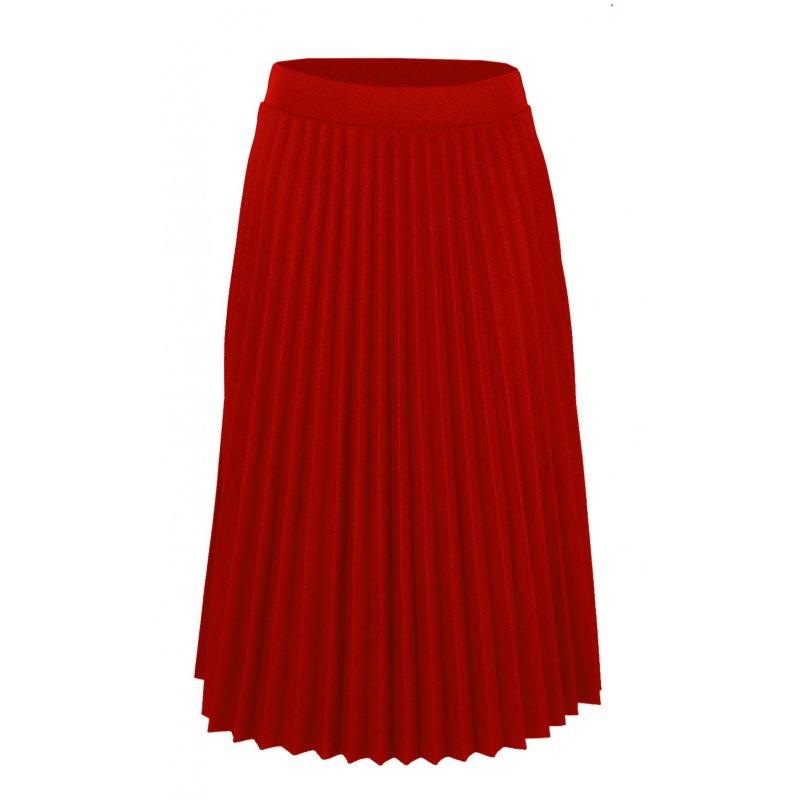 Włoska Spódnica z Plisami z Gumką w Pasie - Czerwona