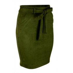 Ołówkowa Spódnica z Elastycznego Ekozamszu - Zielona