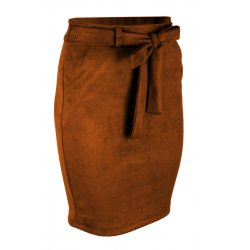 Ołówkowa Spódnica z Elastycznego Ekozamszu - Brąz