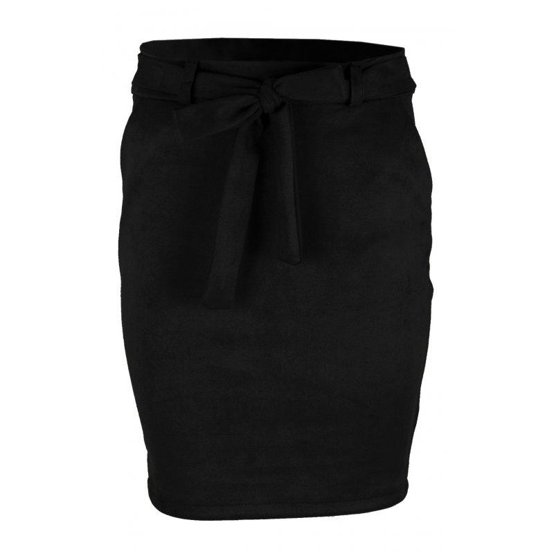 Ołówkowa Spódnica z Elastycznego Ekozamszu - Czarna