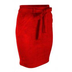 Ołówkowa Spódnica z Elastycznego Ekozamszu - Czerwona