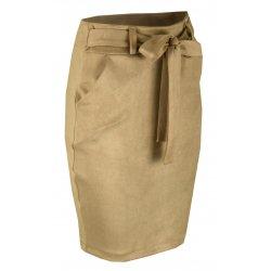Ołówkowa Spódnica z Elastycznego Ekozamszu - Beż
