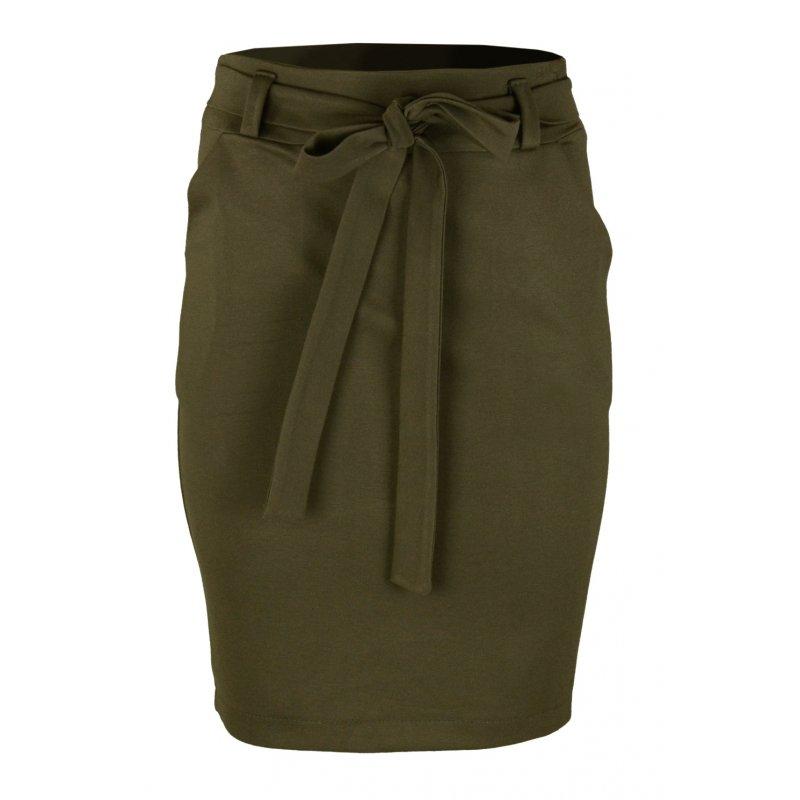 Ołówkowa Spódnica z Elastycznej Dzianiny- Zielona