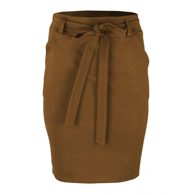 Ołówkowa Spódnica z Elastycznej Dzianiny- Camel