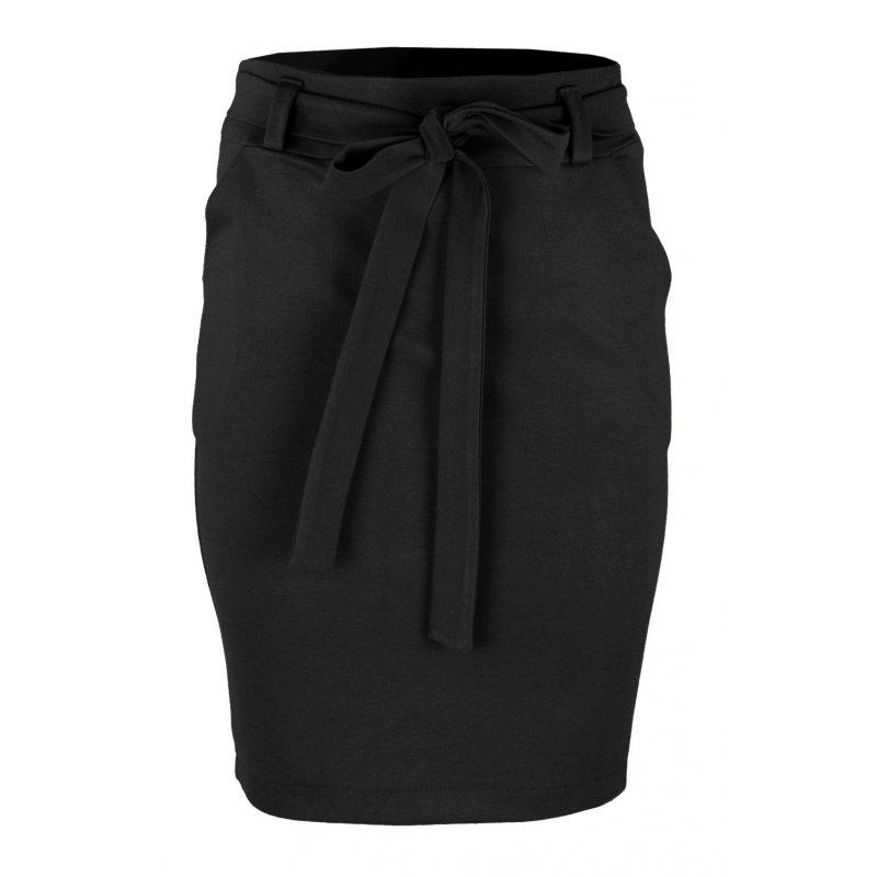 Ołówkowa Spódnica z Elastycznej Dzianiny- Czarna