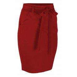 Ołówkowa Spódnica z Elastycznej Dzianiny- Czerwona