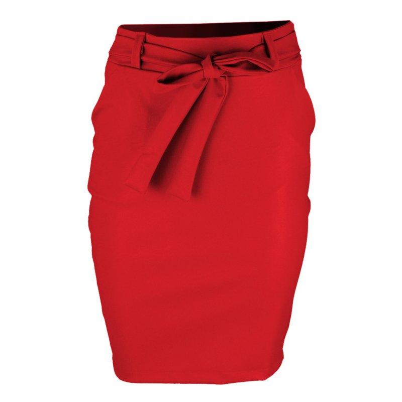 Ołówkowa Spódnica z Elastycznej Ekoskóry- Czerwona