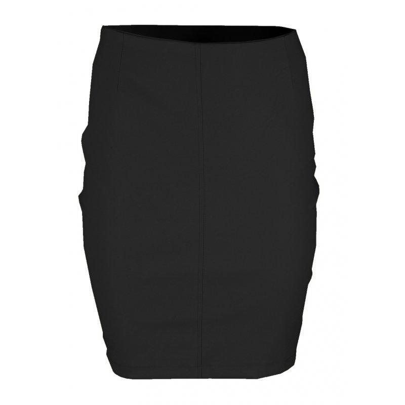 Ołówkowa Spódnica z Ekoskóry MINI- Czarna