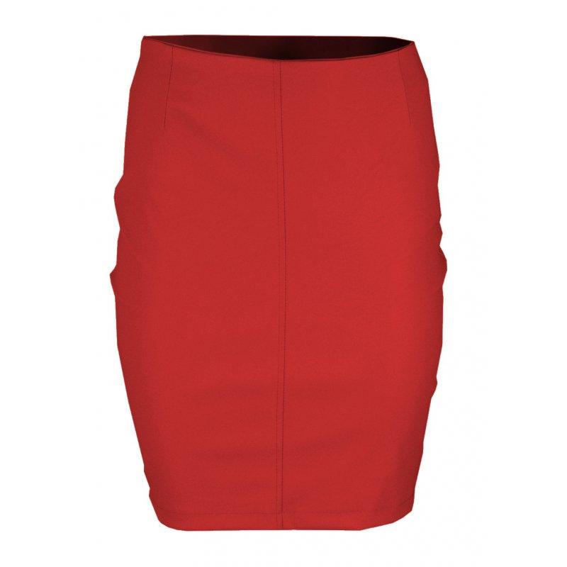 Ołówkowa Spódnica z Ekoskóry MINI- Czerwona
