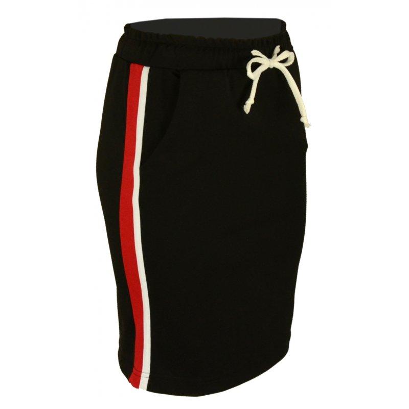 Dzianinowa spódnica z lampasami- czerwony lampas