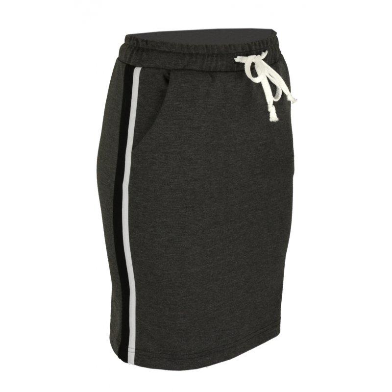 Dzianinowa spódnica z lampasami- czarny lampas