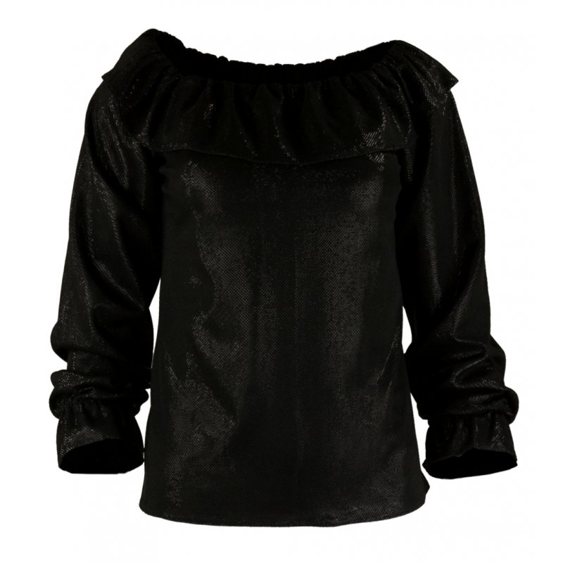 Bluzka z odkrytymi ramionami BŁYSZCZĄCA - czarna