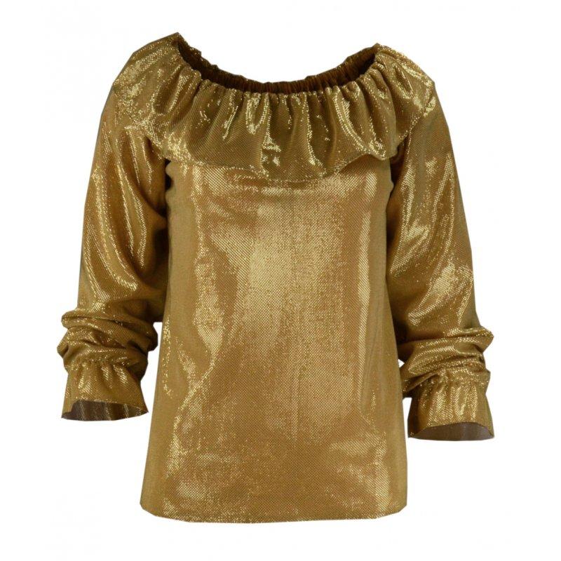 Bluzka z odkrytymi ramionami BŁYSZCZĄCA - złota