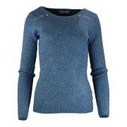Miękki sweter DAMSKI z dżetami- niebieski