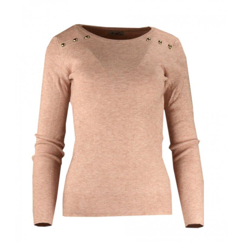 Miękki sweter DAMSKI z dżetami- różowy
